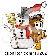 Pill Bottle Mascot Cartoon Character With A Snowman On Christmas
