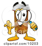 Pill Bottle Mascot Cartoon Character Looking Through A Magnifying Glass