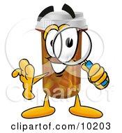 Pill Bottle Mascot Cartoon Character Looking Through A Magnifying Glass