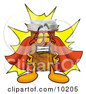 Clipart Picture Of A Pill Bottle Mascot Cartoon Character Dressed As A Super Hero by Toons4Biz