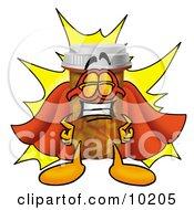 Pill Bottle Mascot Cartoon Character Dressed As A Super Hero