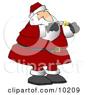 Santa Smoking A Cigarette On A Smoke Break Clipart Illustration