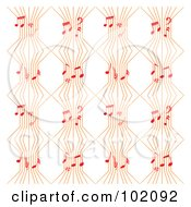 Background Pattern Of Orange Music Lines With Red Notes On White