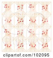 Background Pattern Of Orange Music Strings With Red Notes On White