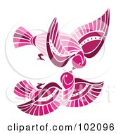 Royalty Free RF Clipart Illustration Of A Pair Of Pink Birds Flying And Kissing by Cherie Reve