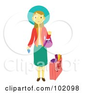 Royalty Free RF Clipart Illustration Of A Pretty Woman Standing And Holding A Credit Card By A Shopping Bag by Cherie Reve
