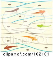 Royalty Free RF Clipart Illustration Of A Background Of Colorful Fish Swimming In Waves by Cherie Reve