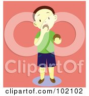 Royalty Free RF Clipart Illustration Of A Little Boy Standing And Eating Cookies by Cherie Reve