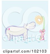 Royalty Free RF Clipart Illustration Of A Pink Rabbit Giving A Hippo A Flower by Cherie Reve