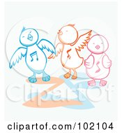 Royalty Free RF Clipart Illustration Of Three Singing Chicks by Cherie Reve