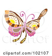 Royalty Free RF Clipart Illustration Of A Spring Time Butterfly With Sun Designs by Cherie Reve
