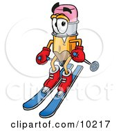 Pencil Mascot Cartoon Character Skiing Downhill by Toons4Biz