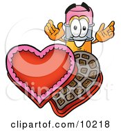 Pencil Mascot Cartoon Character With An Open Box Of Valentines Day Chocolate Candies by Toons4Biz