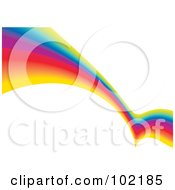 Royalty Free RF Clipart Illustration Of A Rainbow Swoosh Wave Background 1