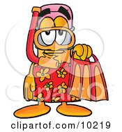 Clipart Picture Of A Pencil Mascot Cartoon Character In Orange And Red Snorkel Gear