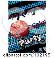 Royalty Free RF Clipart Illustration Of A Blue Disco Party Background With A Red Ball And Dancing Feet by MilsiArt