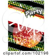 Royalty Free RF Clipart Illustration Of A Green Disco Party Background With A Red Ball And Dancing Feet by MilsiArt