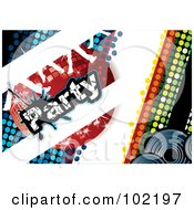 Royalty Free RF Clipart Illustration Of A Blue And Green Disco Party Background With A Red Ball And Dancing Feet by MilsiArt