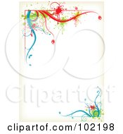Royalty Free RF Clipart Illustration Of A Colorful Floral Vine Border Around White Copyspace by MilsiArt