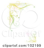 Green Floral Vine And Splatter Border Around White Copyspace