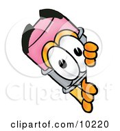Clipart Picture Of A Pencil Mascot Cartoon Character Peeking Around A Corner