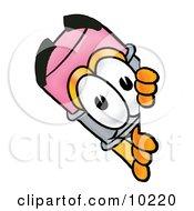 Pencil Mascot Cartoon Character Peeking Around A Corner