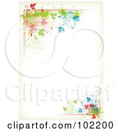 Royalty Free RF Clipart Illustration Of A Colorful Floral Vine Border Around Antique White Copyspace