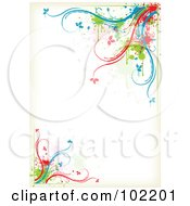 Colorful Floral Vine Border Around White Space