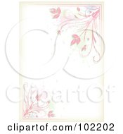 Royalty Free RF Clipart Illustration Of A Pink Floral Vine And Splatter Border Around White Copyspace