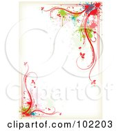 Royalty Free RF Clipart Illustration Of A Colorful Floral Vine And Splatter Border Around White Copyspace