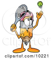 Pencil Mascot Cartoon Character Preparing To Hit A Tennis Ball by Toons4Biz
