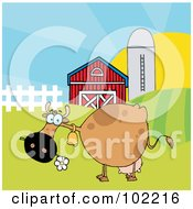 Royalty Free RF Clipart Illustration Of A Spotted Brown Cow Eating A Daisy Near A Barn And Silo by Hit Toon