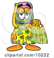 Clipart Picture Of A Pencil Mascot Cartoon Character In Green And Yellow Snorkel Gear