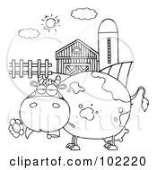 Outlined Chubby Cow Eating A Daisy By A Silo And Barn