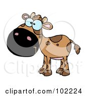 Royalty Free RF Clipart Illustration Of A Brown Baby Cow