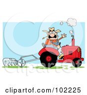 Royalty Free RF Clipart Illustration Of A Caucasian Male Farmer Waving And Operating A Tilling Tractor