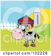 Royalty Free RF Clipart Illustration Of A Spotted Gray Calf In A Pasture By A Barn And Silo by Hit Toon