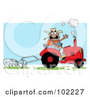 Royalty Free RF Clipart Illustration Of A Hispanic Male Farmer Waving And Operating A Tilling Tractor by Hit Toon