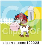 Royalty Free RF Clipart Illustration Of A Spotted White Calf In A Pasture By A Barn And Silo by Hit Toon