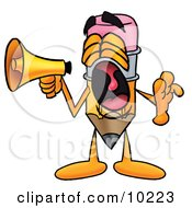 Clipart Picture Of A Pencil Mascot Cartoon Character Screaming Into A Megaphone