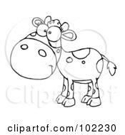 Royalty Free RF Clipart Illustration Of An Outlined Baby Cow