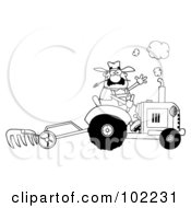 Royalty Free RF Clipart Illustration Of A Coloring Page Outline Of A Farmer Waving And Tilling A Field With A Tractor