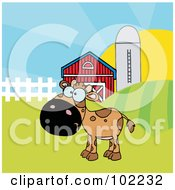 Royalty Free RF Clipart Illustration Of A Spotted Brown Calf In A Pasture By A Barn And Silo by Hit Toon