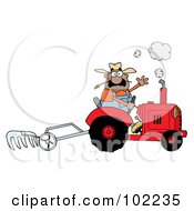 Royalty Free RF Clipart Illustration Of A Hispanic Farmer Waving And Tilling A Field With A Tractor by Hit Toon