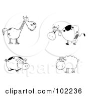 Royalty Free RF Clipart Illustration Of A Digital Collage Of A Black And White Horse Cow Pig And Sheep