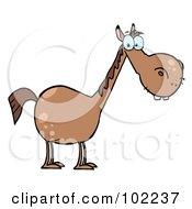 Royalty-Free (RF) Clipart Illustration of a Short Brown Horse With A Long Neck by Hit Toon