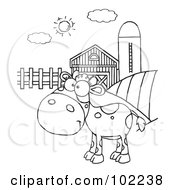 Royalty Free RF Clipart Illustration Of An Outlined Spotted Calf In A Pasture By A Barn And Silo by Hit Toon
