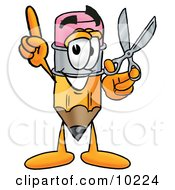 Pencil Mascot Cartoon Character Holding A Pair Of Scissors by Toons4Biz