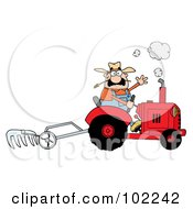 Caucasian Farmer Waving And Tilling A Field With A Tractor