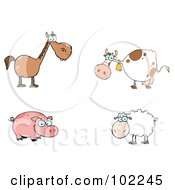Royalty Free RF Clipart Illustration Of A Digital Collage Of A Farm Horse Cow Pig And Sheep